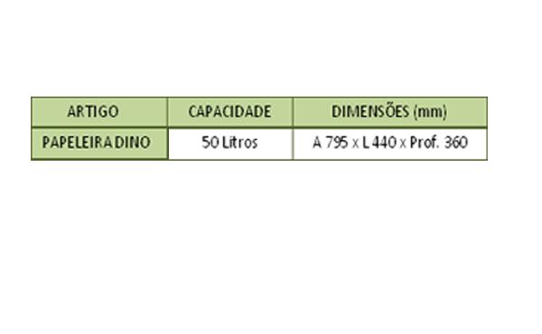 Tabela de Especificações da Papeleira